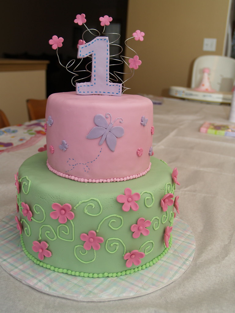 Astonishing Butterfly Birthday Cake For My Baby Girls First Birthday Flickr Birthday Cards Printable Benkemecafe Filternl