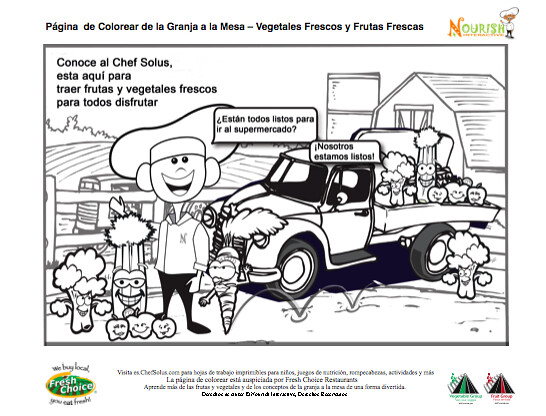 Kids\' Spanish Nutrition Healthy Food Coloring Page-Farm to ...