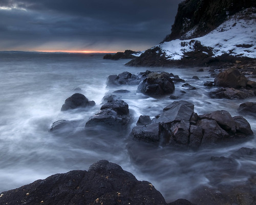 sunset snow beach rocks fife estuary nd d300 slowwater leefilters