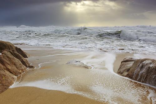 california travel winter sunset sea vacation sky usa seascape storm rock clouds canon landscape surf pacific wind wave 5d thunderstorm pacifica stormsurge mkii cumulonimbus sanmateocounty greywhalecove sneakerwave 5dmkii