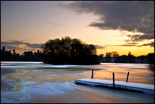 winter snow ice sunrise shropshire jetty mere ellesmere ianandrew