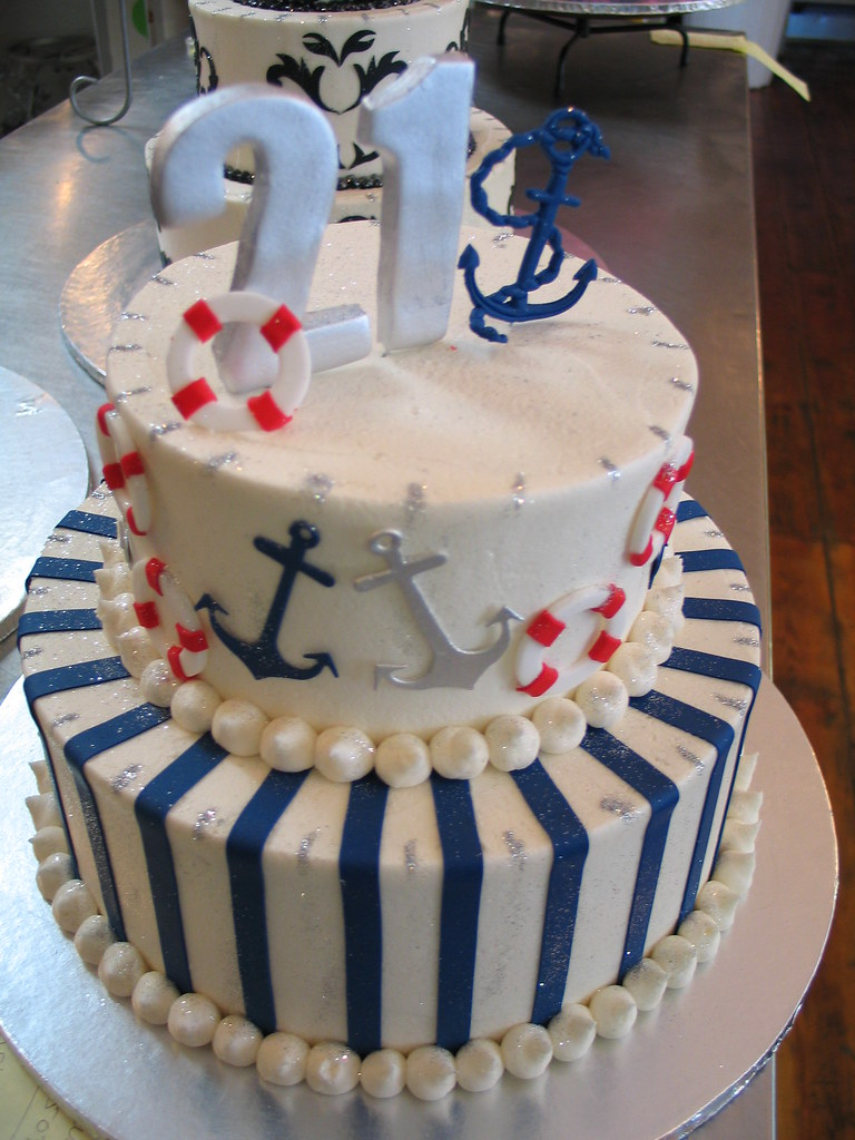 Groovy Nautical Theme 2 Tier Birthday Cake Nautical Theme 2 Tier Flickr Personalised Birthday Cards Sponlily Jamesorg