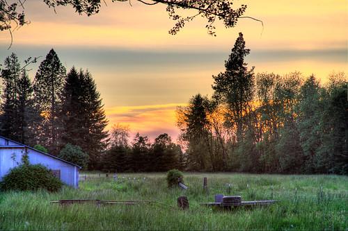 trees sunset barn evening adobe hdr lightroom