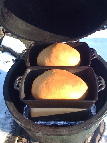 Baking Bread In Big Green Egg Ceramic Grill Outdoors 3