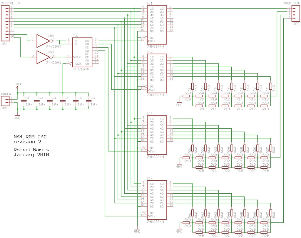 N64 RGB DAC rev2 - schematic | Schematic for the DAC drawn i ... Dac Schematic on