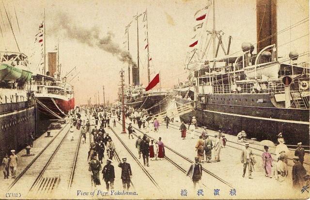 Yokohama- view of pier- vintage postcard- 18-12-2009 21;02;11
