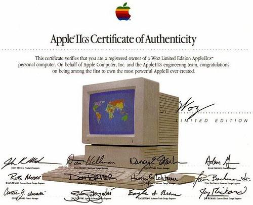 AppleIIgs Woz certificate   by nicoladagostino