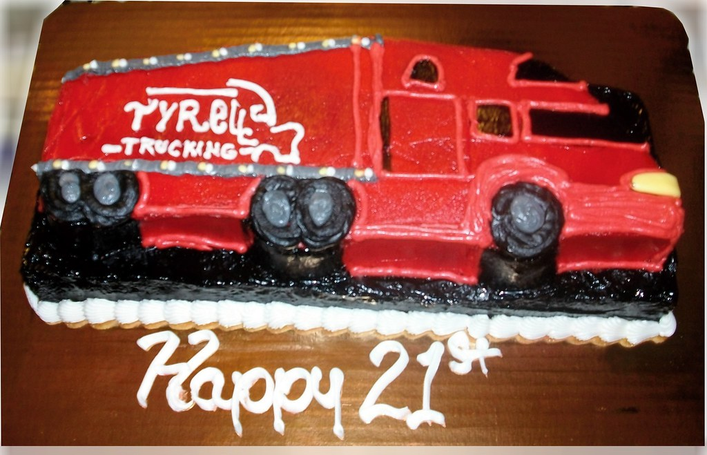 Marvelous Red Big Rig Tractor Trailor Truck Birthday Cake Damon Nasir Personalised Birthday Cards Sponlily Jamesorg