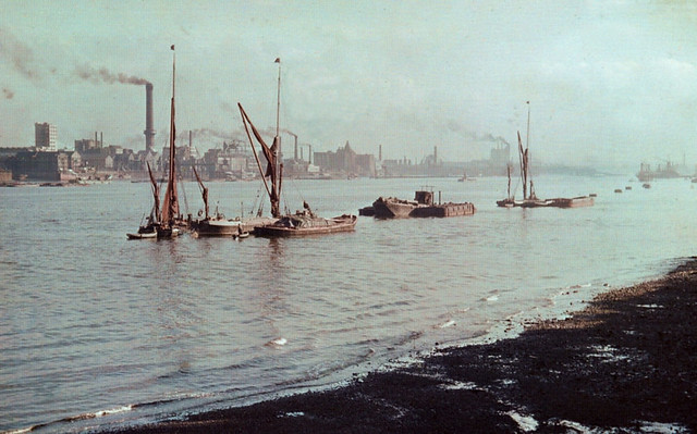 Thames sailing barges on Woolwich Reach