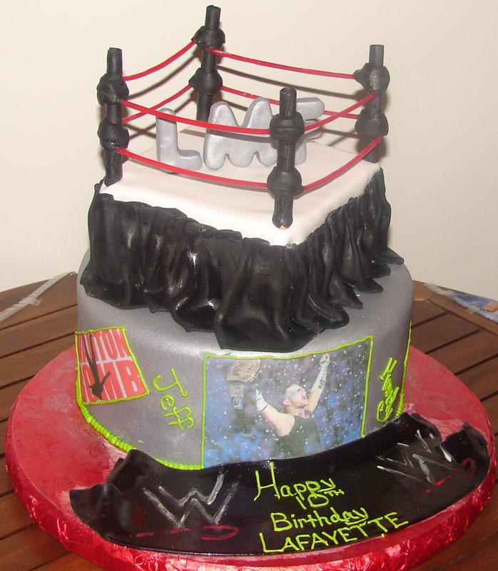 Surprising Fondant Custom Wwe Wrestling Ring Birthday Cake A Photo On Funny Birthday Cards Online Chimdamsfinfo