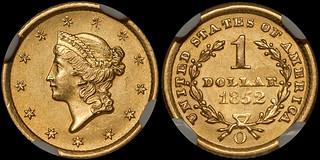 1852-O Gold $1.00 NGC MS63 | by RareGoldCoins.com