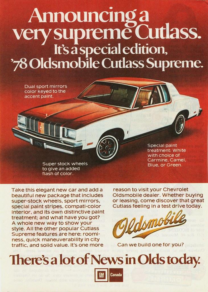 1978 Oldsmobile Cutlass Supreme Ad Canada By Aldenjewell