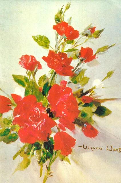 1970s Greeting Card - Vernon Ward Roses