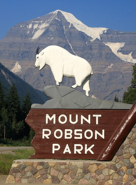 Welcoming sign at the entrance to Mount Robson