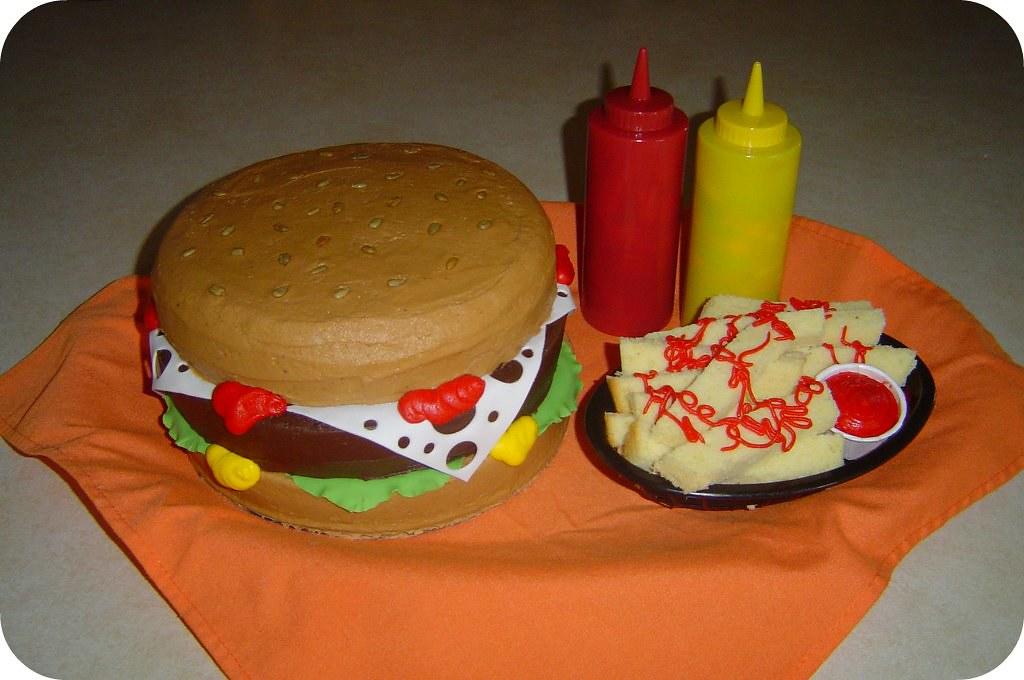 Groovy Hamburger And Fries Birthday Cake A Photo On Flickriver Funny Birthday Cards Online Inifodamsfinfo