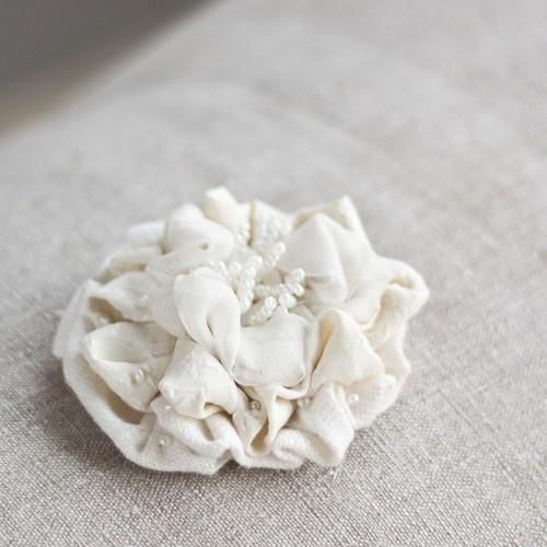 Textile Flower Brooch - Ivory Romance | by <vaida>