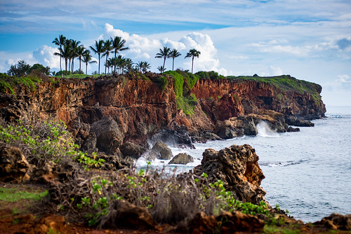 cliff palms ocean beach islands landscape clouds hawaii paradise
