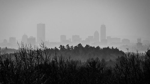 city trees blackandwhite panorama boston skyline forest buildings landscape haze massachusetts layers middlesexfells bearhill