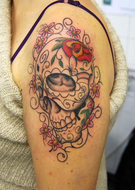 candy skull with cherry blossoms