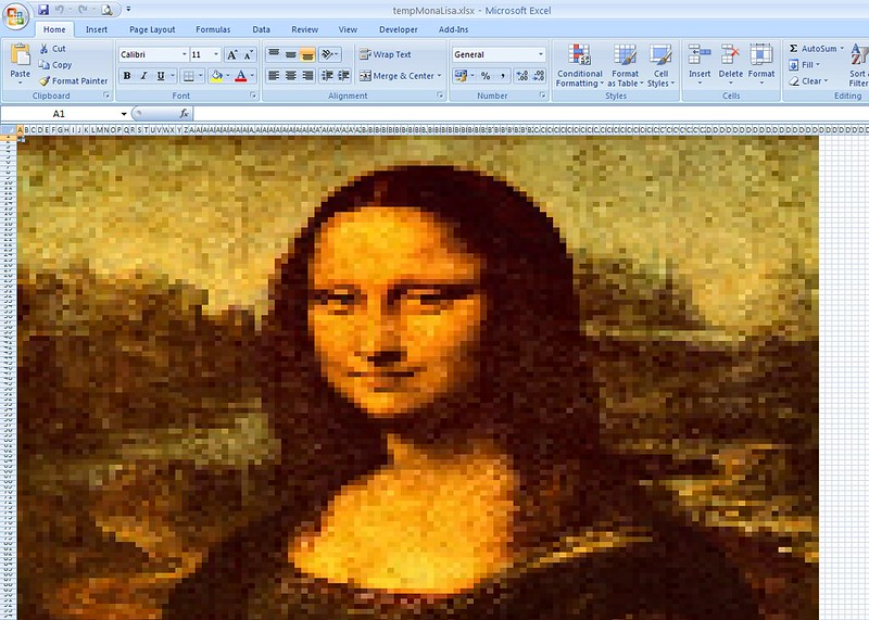 Excel Paintings - Mona Lisa