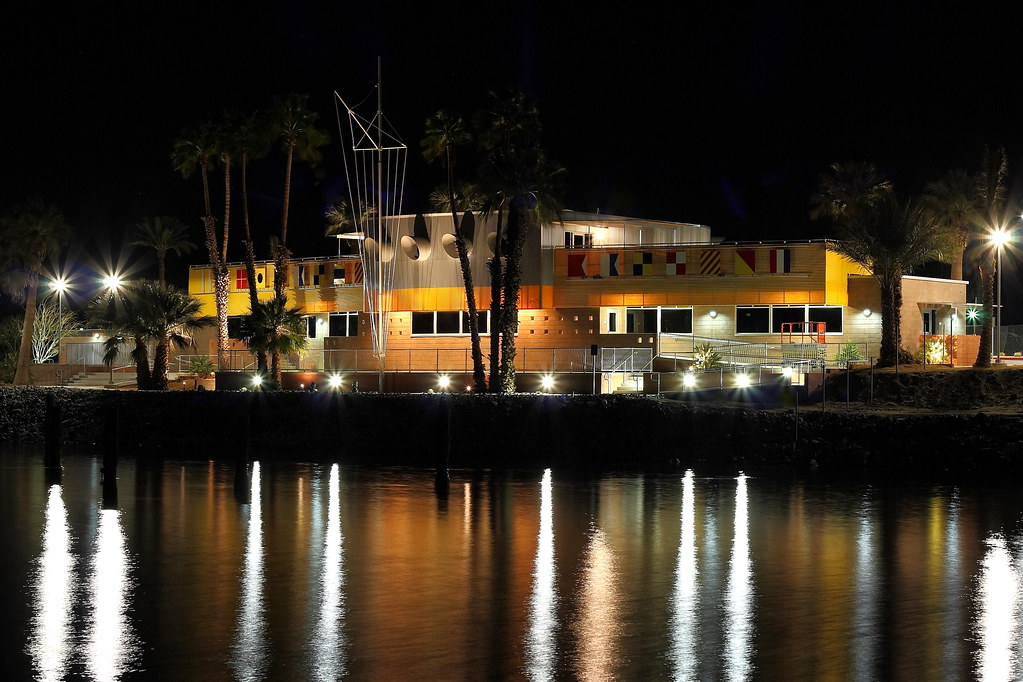 Nighttime shot of the North Shore Beach & Yacht Club at the Salton Sea. Lit up for the first time in decades.