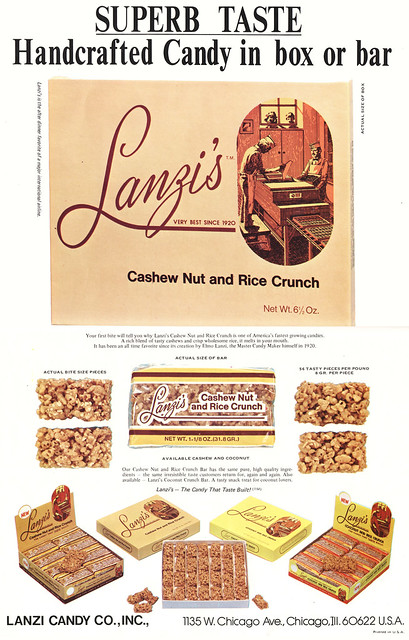 The product that won over many candy lovers in Chicago and the world: Lanzi's Cashew Nut Crunch. (1970s Ad)