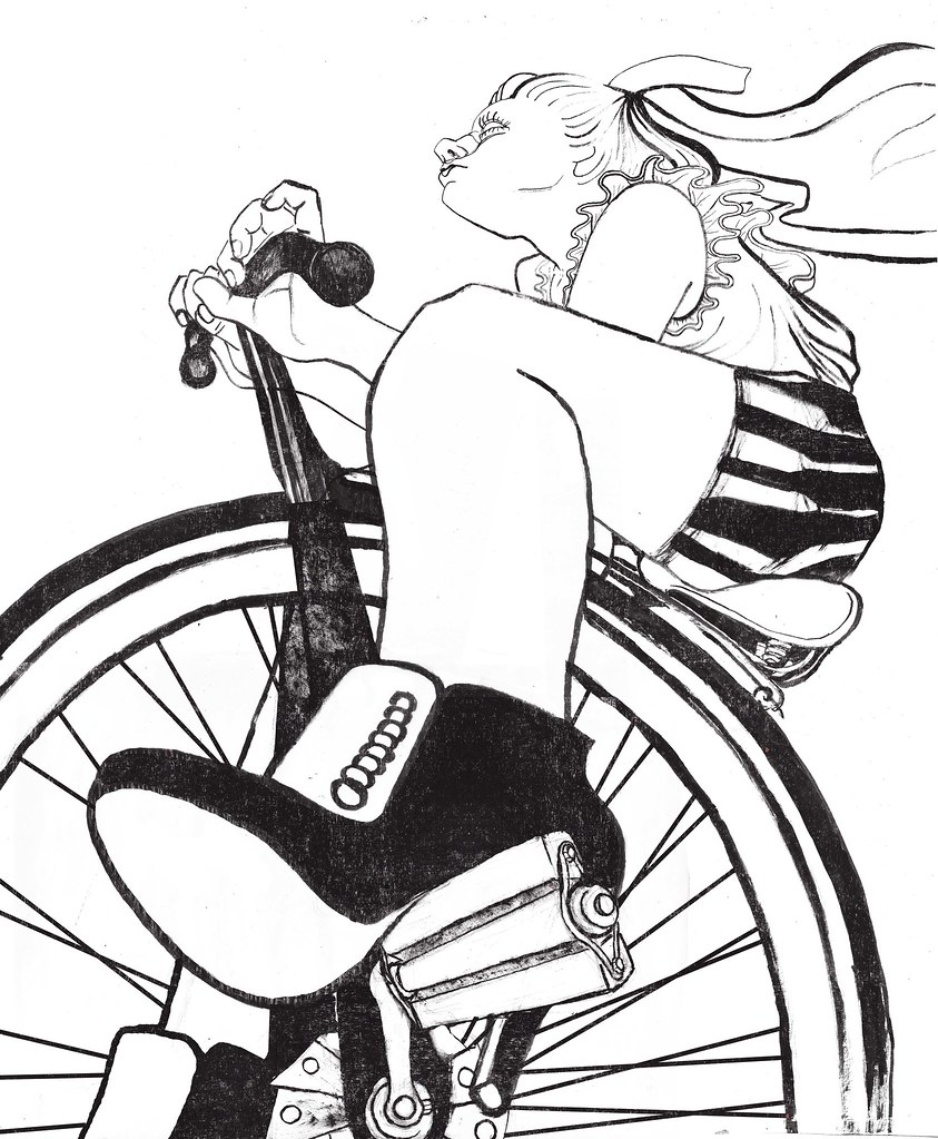 Girl On Bicycle Final Drawing Elizabeth Chamberlin Flickr