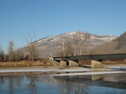 bridge winter mountains ice kamloops