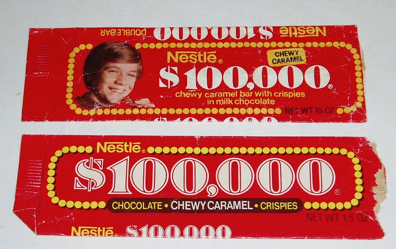 $100,000 Bar candy bar wrappers