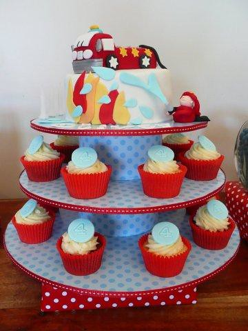 Pleasing Fire Engine Birthday Cake And Cupcakes A Photo On Flickriver Funny Birthday Cards Online Elaedamsfinfo