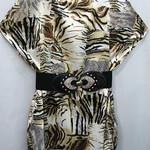 MJ(350)仿丝缎映老虎纹腰带裙SML浅黄色灰色 长度84
