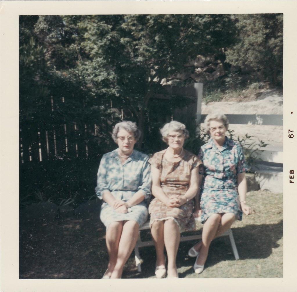 258 Kath Christie, Grace Robertson, Alsa Young, nieces of Mabel Rae Spriggs, taken 60 Milray, Wollstonecraft, NSW.  Australia 1964