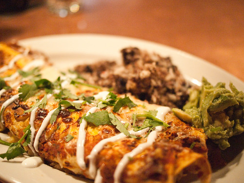 The Feve Brunch - Red skinned potato and zucchini enchiladas