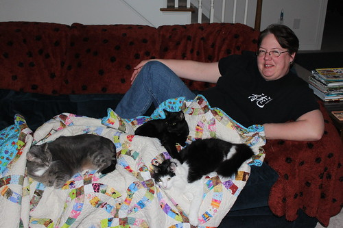 My wife, as usual, is covered in cats. At least this time there's a quilt to keep them all warm.