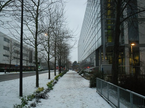 University Road and Building 32 in the Snow