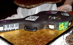 Guitar Case Cake with Edible Band Stickers | by wickedcakechick