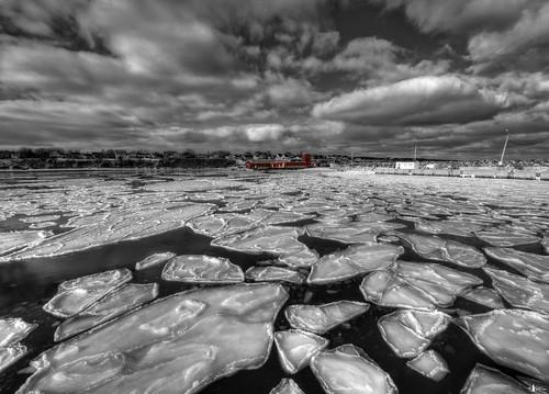 ocean winter bw canada ice port harbor novascotia capebreton seaice fishingvillage selectivecolor cs4 photomatix d700 portmorien niksfilters hdr5ex