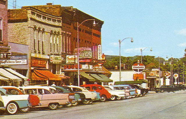 Frankfort MI GREAT 1950s Downtown Main Street View Curteich Card TC4 ScK2851 Unsent Baker Bar a Great Lakes Ferry Sailor and Mariner Favorite NICE 2