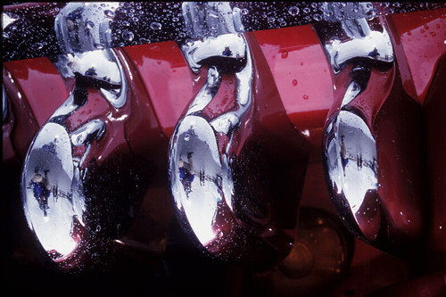 • Chrome-Raindrops-Reflections. Abstract-06. 2002 Cherries Jubilee Cars Show • Raindrops on a car.