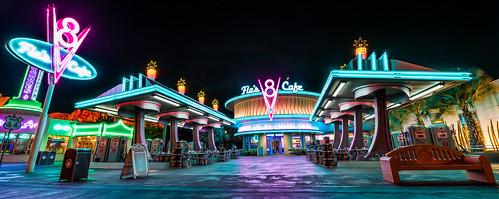california travel vacation holiday cars night landscape cafe nikon angle disneyland disney adventure springs pixar land ultrawide radiator v8 flos uwa lasseter 1424 d810 lassetire