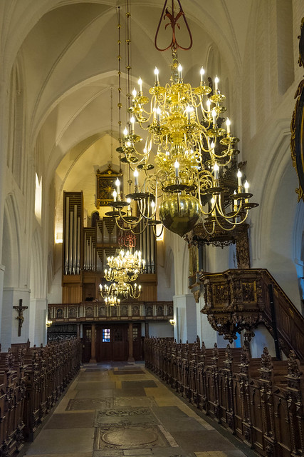 Interior of Sankt Nicolai Church, Bykirken in Køge, Zealand, Denmark