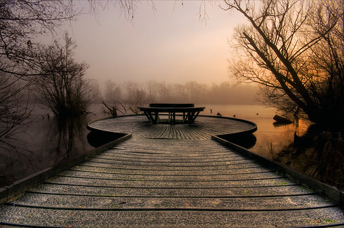 uk trees winter sunset england mist lake cold ice pool fog pier fishing nikon december glow britain jetty sigma wideangle reservoir boardwalk 1020mm staffordshire 2009 hdr sigma1020mm fradley fradleyjunction photomatix d80 nikond80 lichfielddistrict fradleyreservoir