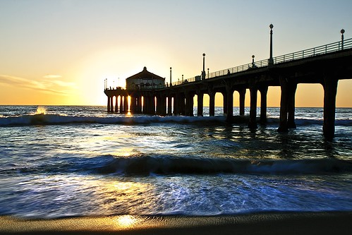 ocean california sunset sunlight beach water reflections pier movement sand waves pacific manhattan wetsand