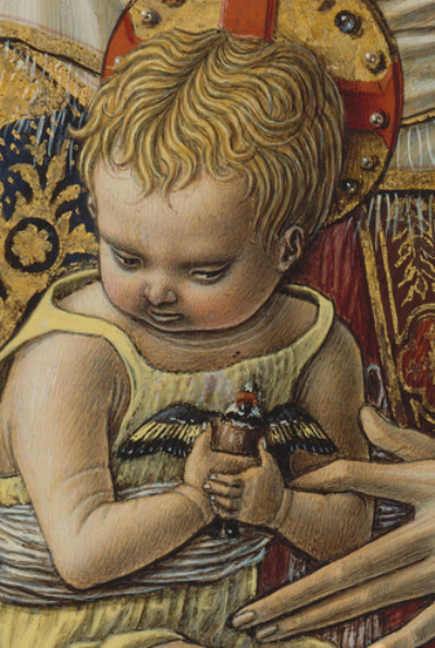 Carlo Crivelli: Madonna and Child, detail goldfinch] (1480)