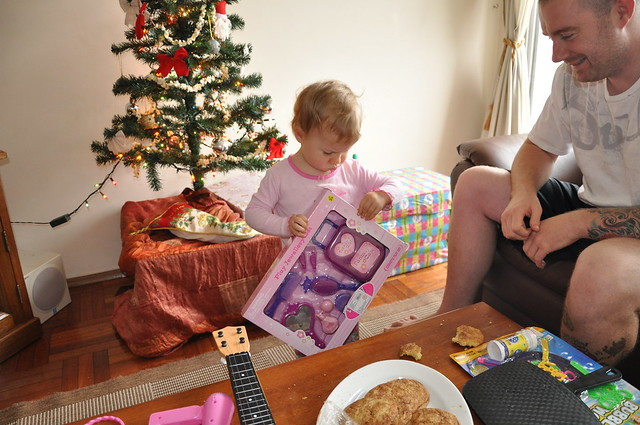 Zoë Opening Presents on Christmas