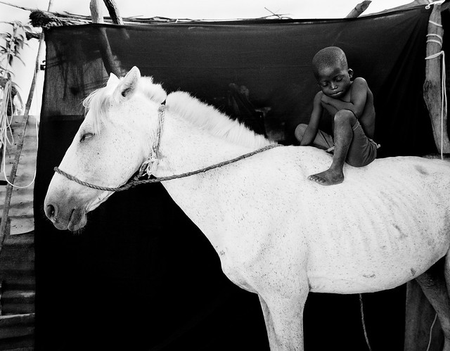 Shy little boy, Ismaila, sits on his white horse, Jumpex,  The Gambia, West Africa, 2008