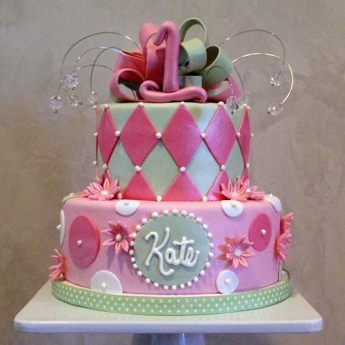 Girly 1st Birthday Cake | by wickedcakechick