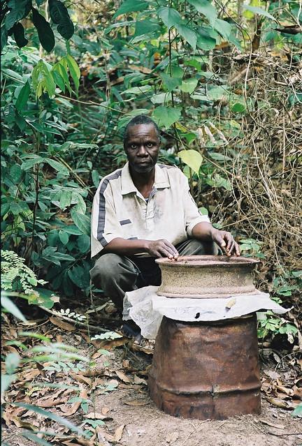 Tata Batantu with his oil drum hive