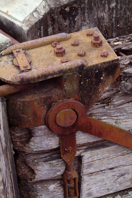 Rusty Hinge of one of the lock doors at the Old 1928 West