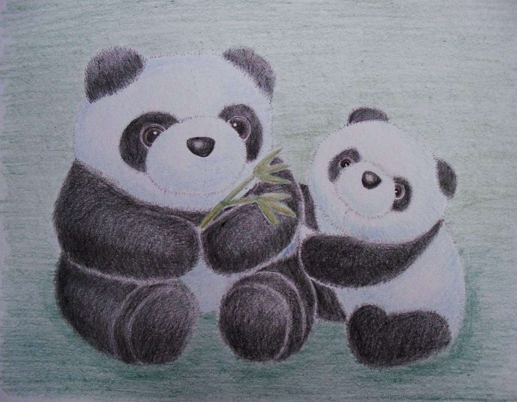 Panda mom and cub stuffies color pencil drawing today is flickr